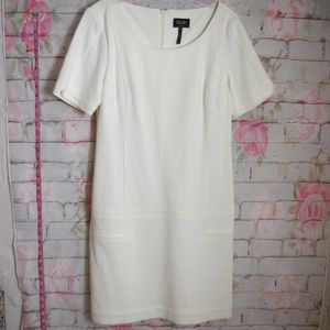 Shelli Segal Sheath Dress Stretchy White Quilted 8